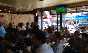 The mild-mannered crowd at Athens Cafe in Astoria as Greece battled Japan
