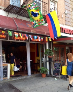 Cafecito Bogota in Greenpoint an hour before Colombia's match with Uruguay.
