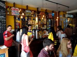 The bar at Cafecito Bogotá