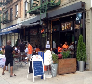 Outside Bier International, which brands itself as 'Harlem's first beer garden' during the WC semifinal match between the Netherlands and Argentina