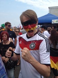 A confident German fan before the match.
