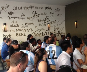 A portion of the crowd inside Bier International in Harlem as Argentina face the Netherlands