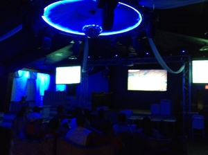 Blue Light Special. The scene inside Pancho Villa Rodeo in Dover during Costa Rica's match with the Netherlands.