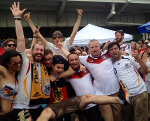 Beer-soaked fans celebrate Germany winning the 2014 World Cup