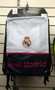 A plain draw string back with Real Madrid written in lazy Helvetica font.