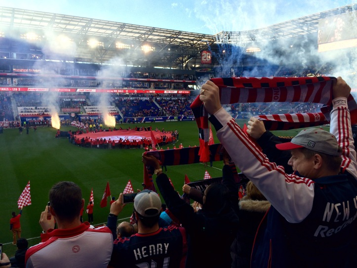 Red Bulls supporters before a playoff match