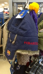 The Barcelona trapper hat, essential for frigid matches at the Camp Nou.