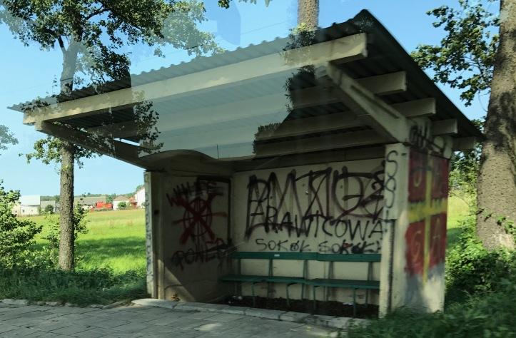 White Power bus shelter in Poland